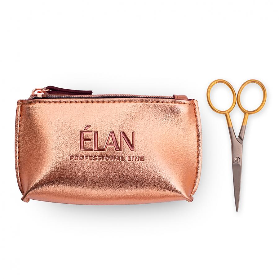 Професійні ножиці для брів ELAN GOLD з брендованою косметичкою ELAN Rose Gold