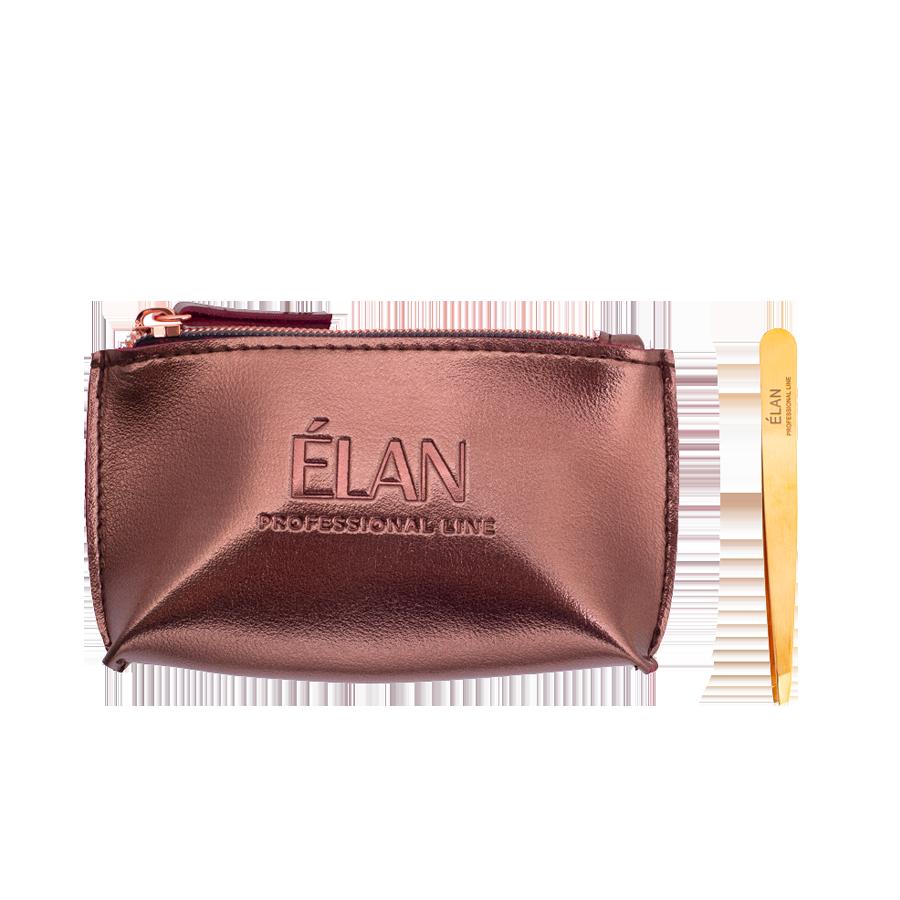 Пінцет для брів ELAN proficiency GOLD з брендованою косметичкою ELAN Bronze