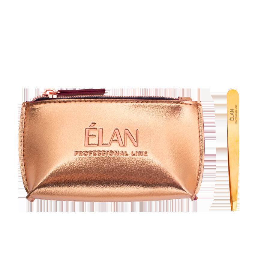 Пінцет для брів ELAN proficiency GOLD з брендованою косметичкою ELAN Gold
