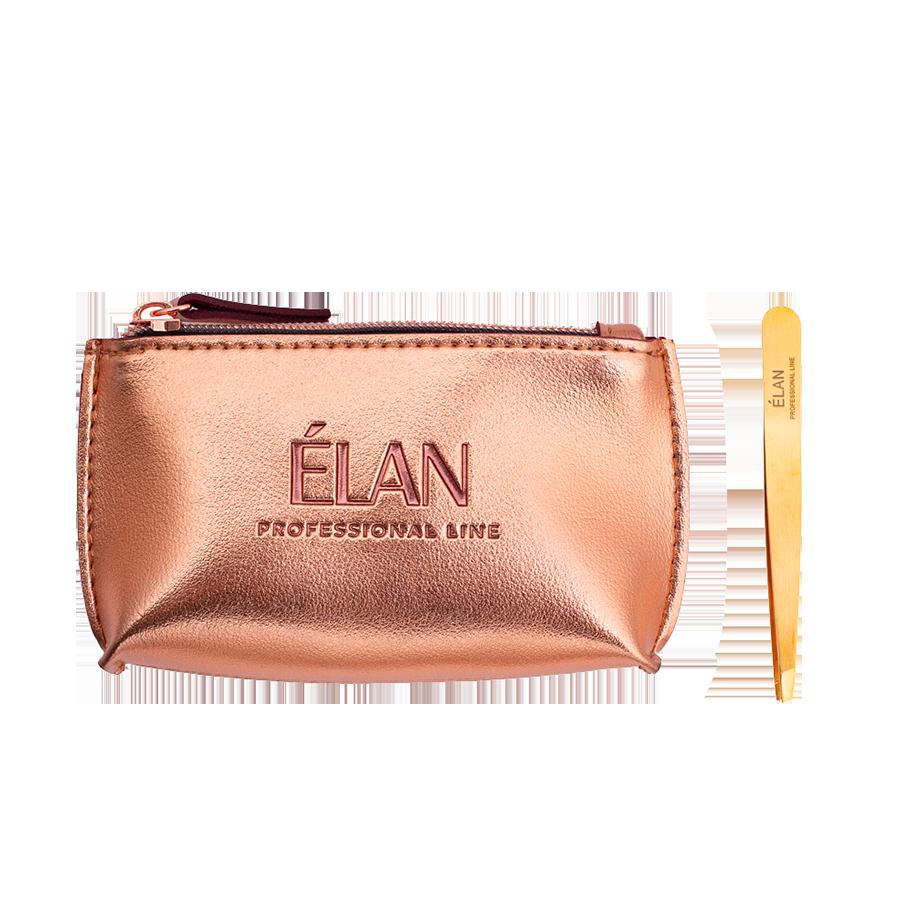 Пінцет для брів ELAN proficiency GOLD з брендованою косметичкою ELAN Rose Gold